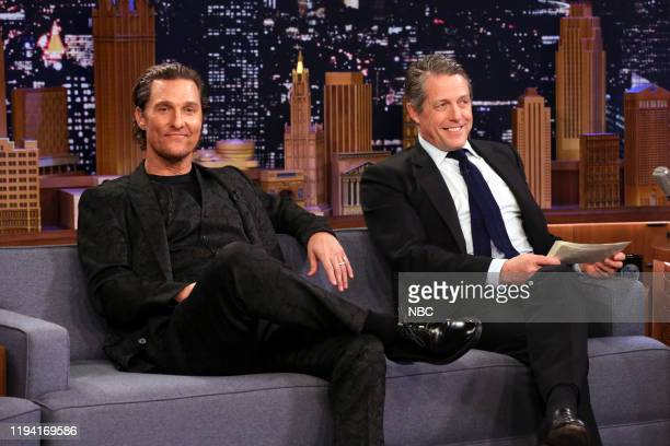 Episode 1190 -- Pictured: Actors Matthew McConaughey and Hugh Grant during an interview on January 17, 2020 --