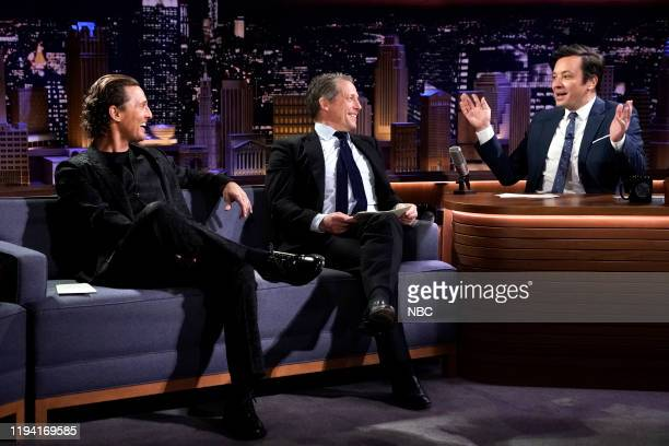 "Episode 1190 -- Pictured: Actors Matthew McConaughey and Hugh Grant play ""True Confessions"" with host Jimmy Fallon on January 17, 2020 --"