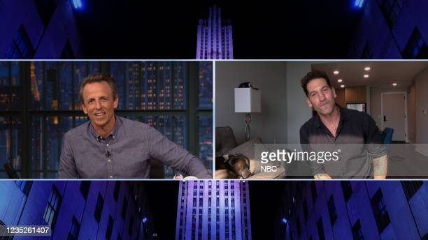 Episode 1191A -- Pictured in this screen grab: Host Seth Meyers during an interview with actor Jon Bernthal on September 14, 2021 --