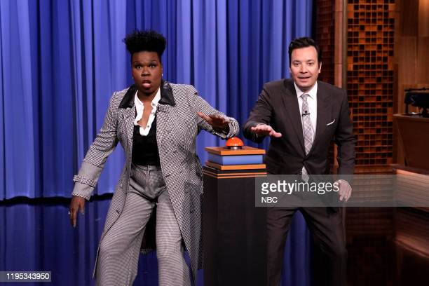Episode 1193 -- Pictured: Comedian Leslie Jones and host Jimmy Fallon play a game during the monologue on January 22, 2020 --