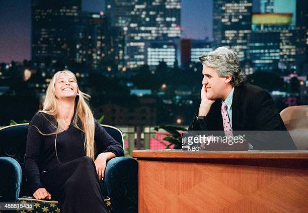 Professional tennis player Anna Kournikova during an interview with host Jay Leno on August 1 1997
