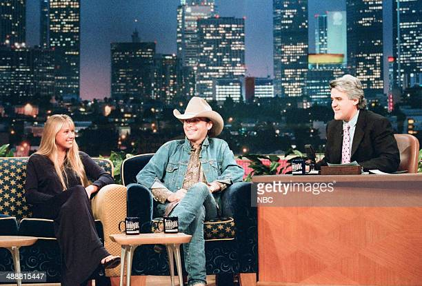 Professional tennis player Anna Kournikova and musical guest Dwight Yoakam during an interview with host Jay Leno on August 1 1997