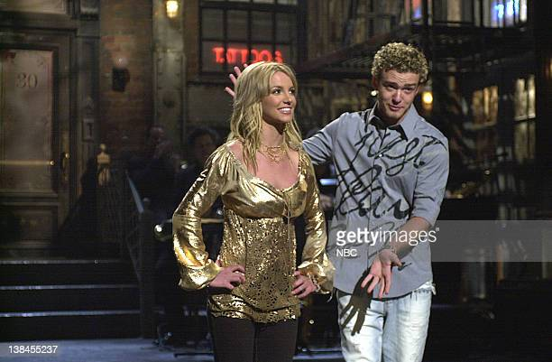 LIVE Episode 12 Air Date Pictured Britney Spears Justin Timberlake during the monologue on February 2 2002