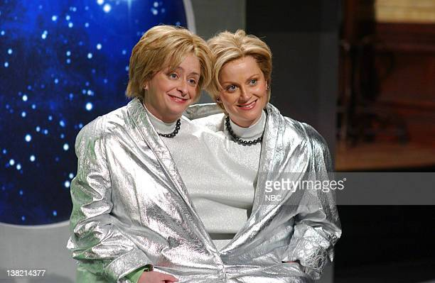 LIVE Episode 12 Aired Pictured Rachel Dratch as Hillary Clinton Amy Poehler as Hillary Clinton during 'State of the Galaxy 2145' skit on February 4...
