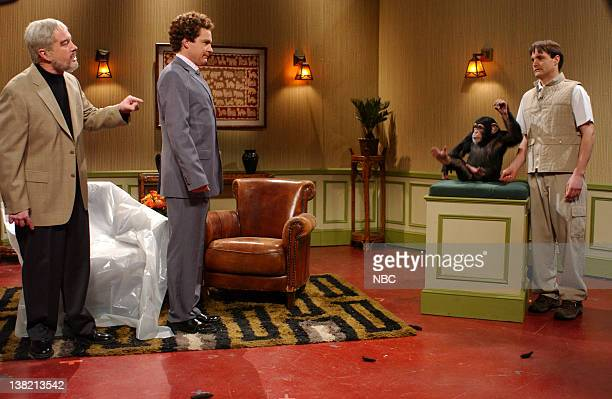 LIVE Episode 12 Aired Pictured Darrell Hammond as Sean Connery Jason Bateman as host Peter Talbank Will Forte as Bojo Bananas during Monkeys Throwing...