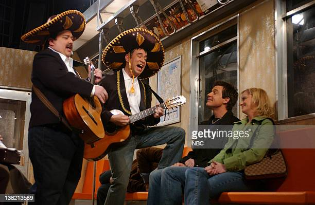 LIVE Episode 12 Aired Pictured Horatio Sanz Fred Armisen as Mexicans Jason Bateman Amy Poehler as passengers during Subway Performers skit