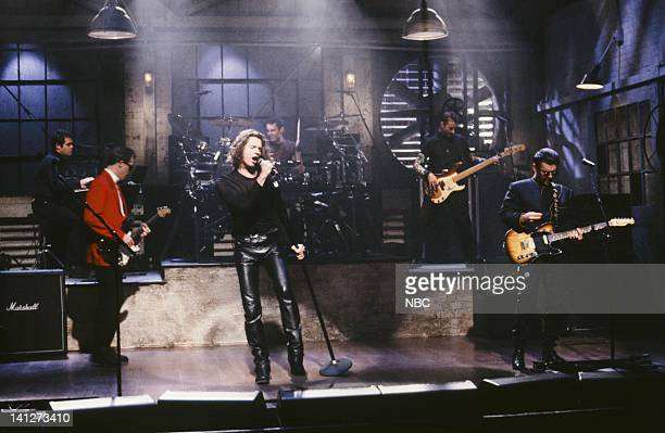 Andrew Farriss Tim Farriss Jon Farriss Michael Hutchence Garry Gary Beers Kirk Pengilly Musical guest INXS performs on February 9 1991 Photo by...
