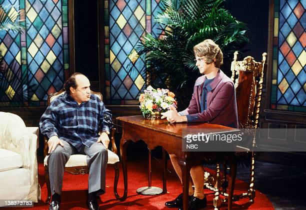 Danny DeVito Dana Carvey as Church Lady during Church Chat skit on February 21 1987