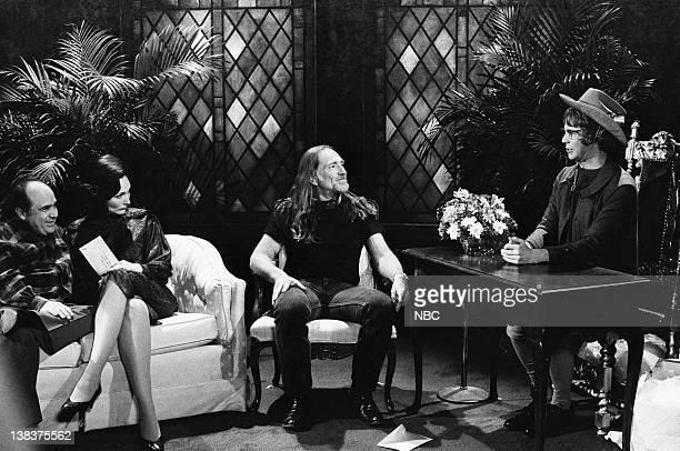 Danny DeVito Nora Dunn as Ann Landers Willie Nelson Dana Carvey as Church Lady during Church Chat skit on February 21 1987