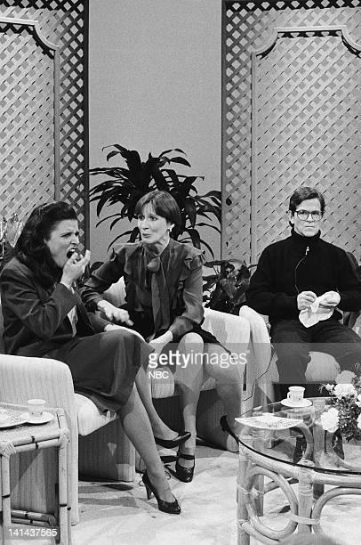 Julia LouisDreyfus as Deborah Scott Mary Gross as Patty Gordon Tim Kazurinsky as Dale Butterworth during the 'Patty's Place' skit on February 11 1984...