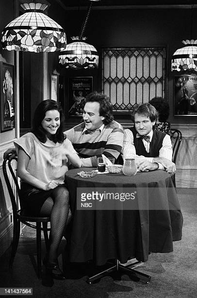 Episode 12 -- Pictured: Julia Louis-Dreyfus, Jim Belushi as Happy, Robin Williams as Biff during the 'Siamese Twins' skit on February 11, 1984 --...
