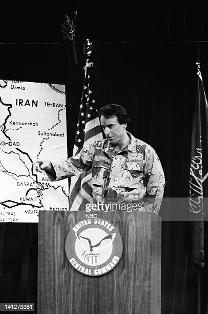 Episode 12 -- Pictured: Kevin Nealon as Lt. Colonel William Pierson during the 'Military Briefing' skit on February 9, 1991 -- Photo by: Raymond...