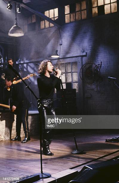Episode 12 -- Pictured: Michael Hutchence -- Musical guest INXS performs on February 9, 1991 -- Photo by: Raymond Bonar/NBCU Photo Bank