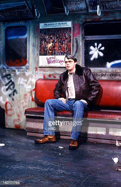 Rich Hall as Bernhard Goetz during the 'New York on Five Dollars A Day' skit on February 2 1985