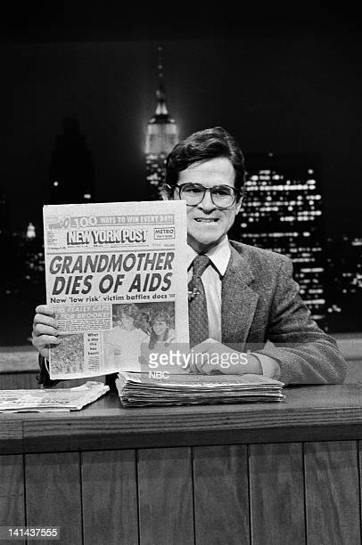 Episode 12 -- Pictured: Tim Kazurinsky during the 'Saturday Night News' skit on February 11, 1984 -- Photo by: Al Levine/NBC/NBCU Photo Bank