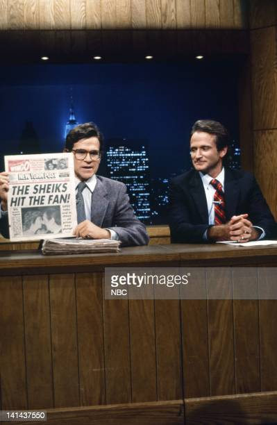 Episode 12 -- Pictured: Tim Kazurinsky, Robin Williams during the 'Saturday Night News' skit on February 11, 1984 -- Photo by: Al Levine/NBC/NBCU...
