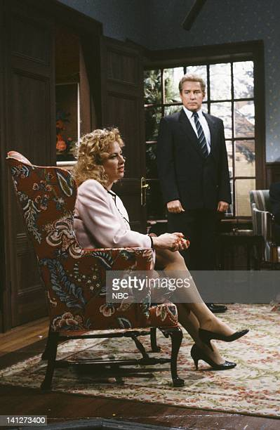 Victoria Jackson as Meg Phil Hartman as Jeffrey during the 'The Sarcastic Clapping Family of Southhampton' skit on February 9 1991 Photo by Raymond...