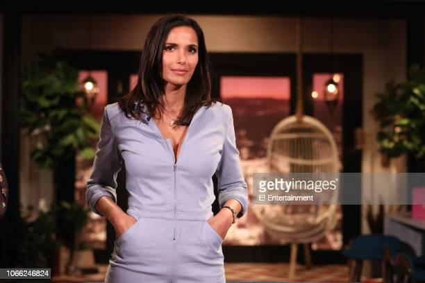 Padma Lakshmi on the set of Busy Tonight