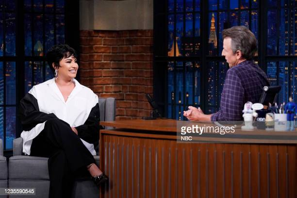 Episode 1200A -- Pictured: Singer Demi Lovato during an interview with host Seth Meyers on September 29, 2021 --