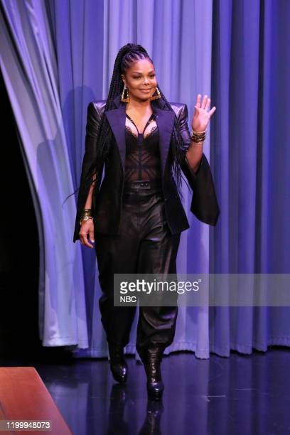 Episode 1206 -- Pictured: Singer-songwriter Janet Jackson arrives to the show on February 10, 2020 --