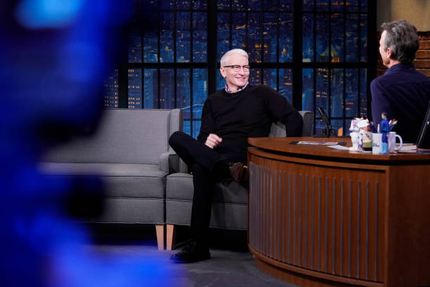 """NY: NBC'S """"Late Night With Seth Meyers"""" With Guests Anderson Cooper, Cobie Smulders (Band Sit-In: Atom Willard)"""