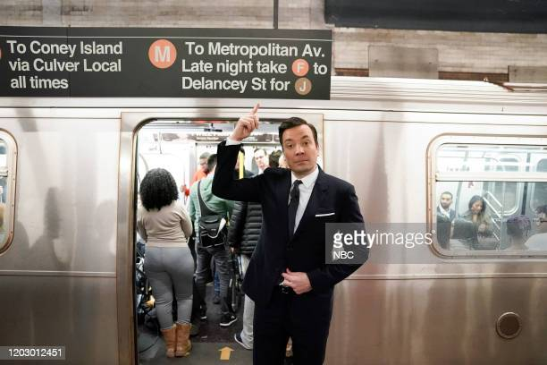 Host Jimmy Fallon boards the New York City Subway on February 24 2020