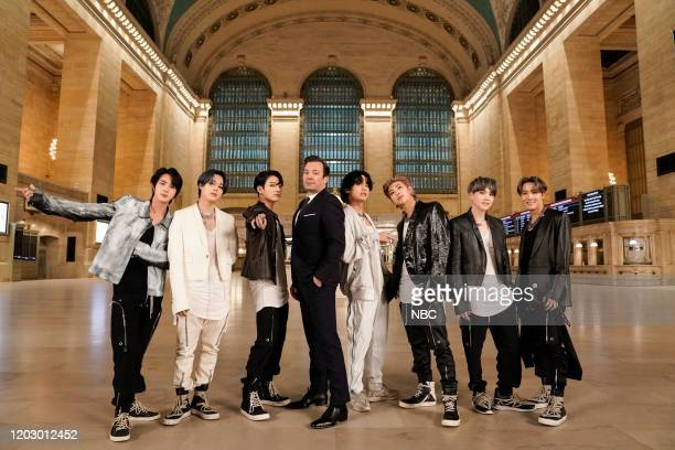 Episode 1211 -- Pictured: Jin, Jimin, and Jungkook of BTS, with host Jimmy Fallon and V, RM, SUGA, and J-Hope of BTS in Grand Central Terminal on...