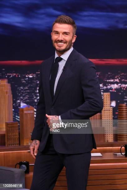 Soccer player David Beckham arrives on February 26 2020