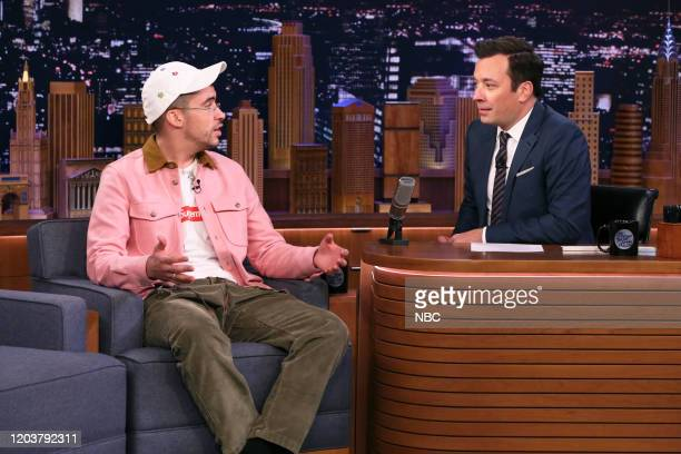 Singer Bad Bunny during an interview with host Jimmy Fallon on February 27 2020