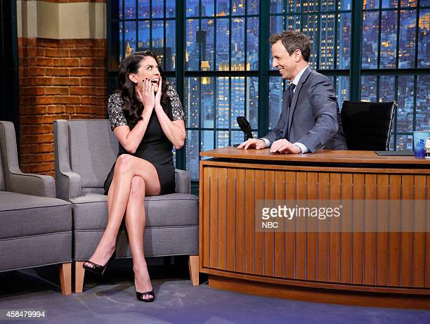 Comedian Cecily Strong during an interview with host Seth Meyers on November 5 2014