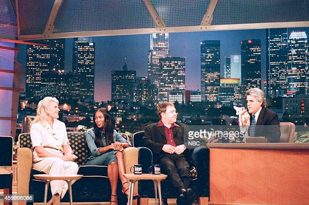 Zoologist Joan Embery model Naomi Campbell and actor Mark Addy during an interview with host Jay Leno on September 15 1997