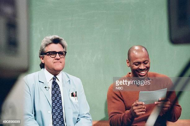 Host Jay Leno and music director Kevin Eubanks during the 'Mr Brain' skit on September 17 1997