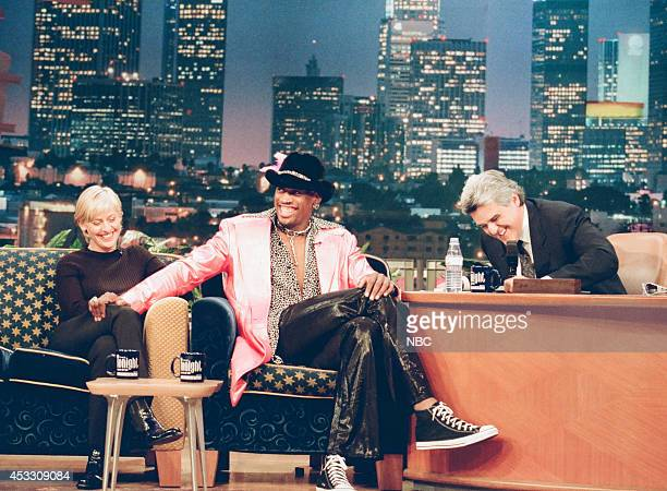 Comedian Ellen DeGeneres and basketball player Dennis Rodman during an interview with host Jay Leno on September 25 1997