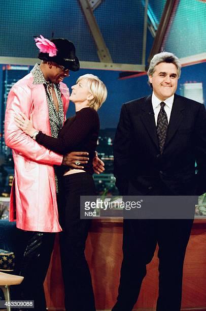 Professional basketball player Dennis Rodman comedian Ellen DeGeneres and host Jay Leno on September 25 1997