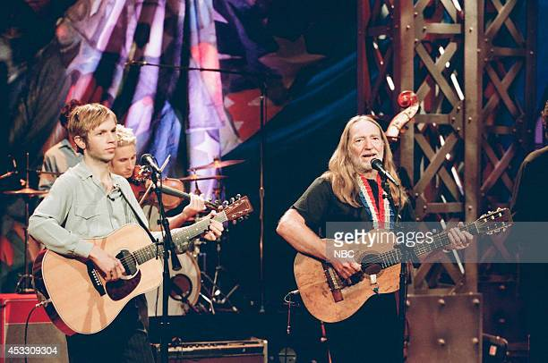 Musical guests Beck and Willie Nelson perform on September 29 1997
