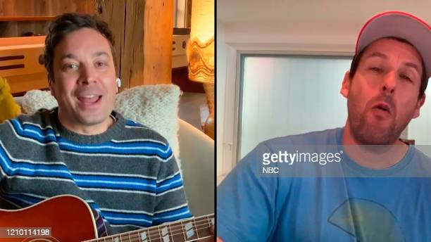 FALLON Episode 1235E Pictured in this screengrab Host Jimmy Fallon and actor Adam Sandler on April 6 2020