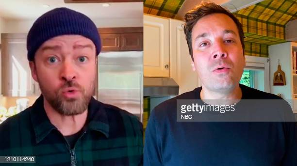 Episode 1236E -- Pictured in this screengrab: Singer Justin Timberlake and host Jimmy Fallon on April 7, 2020 --
