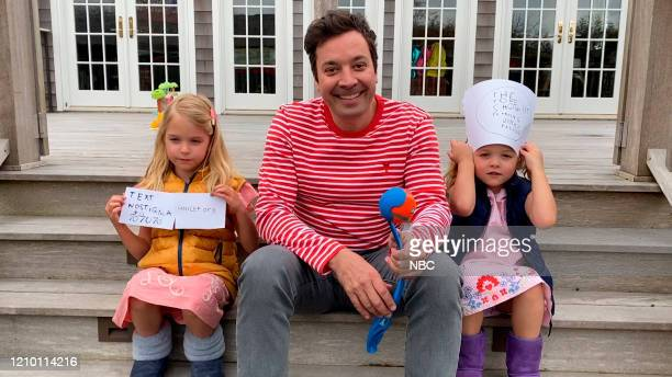FALLON Episode 1237E Pictured in this screengrab Host Jimmy Fallon with his daughters Winnie and Franny on April 8 2020