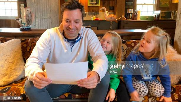 FALLON Episode 1238E Pictured in this screengrab Host Jimmy Fallon with his daughters Winnie and Franny on April 9 2020