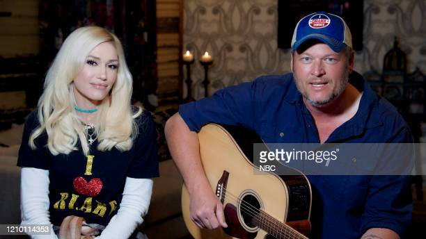 Episode 1240E -- Pictured in this screengrab: Gwen Stefani and Blake Shelton on April 13, 2020 --