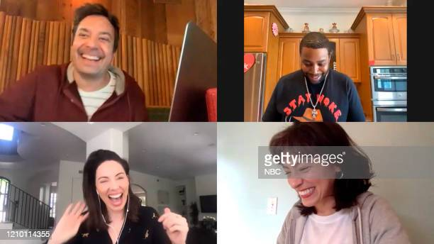 Episode 1240E -- Pictured in this screengrab: Host Jimmy Fallon, Kenan Thompson, Whitney Cummings, and Melissa Villaseñor on April 13, 2020 --
