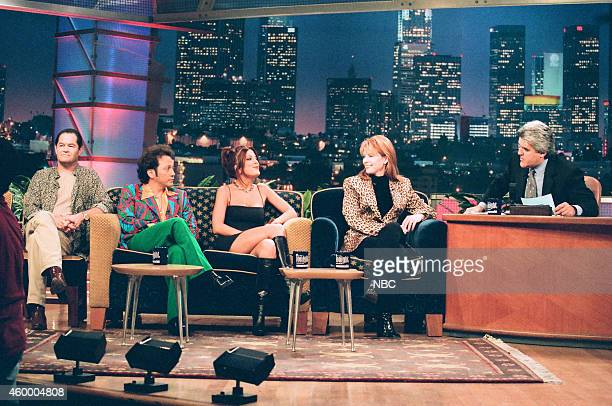 Actor Mickey Dolenz actor Rob Schneider actress Tori Spelling and musical guest Patty Loveless during an interview with host Jay Leno on October 8...