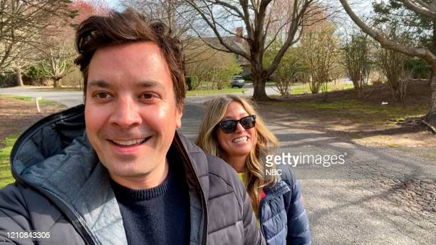 FALLON Episode 1241E Pictured in this screengrab Host Jimmy Fallon and wife Nancy Juvonen on April 14 2020