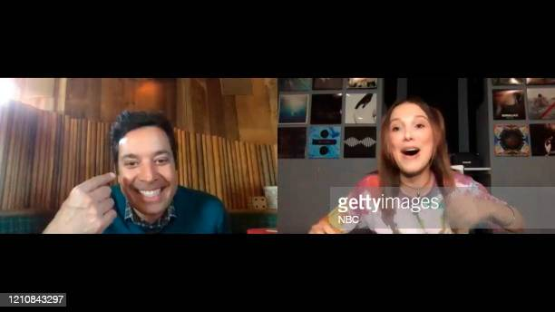 Episode 1242E -- Pictured in this screengrab: Host Jimmy Fallon and actress Millie Bobby Brown on April 15, 2020 --