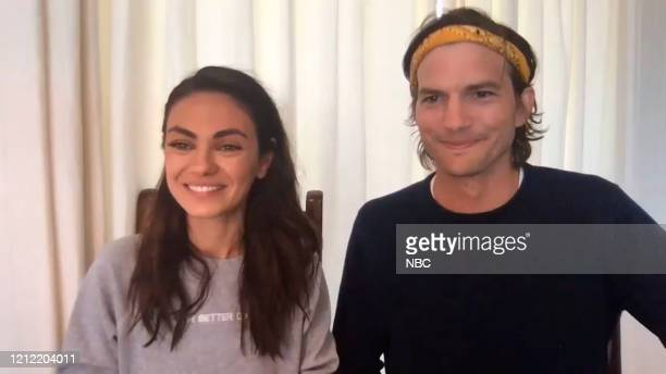 Episode 1255E -- Pictured in this screengrab: Mila Kunis and Ashton Kutcher on May 4, 2020 --