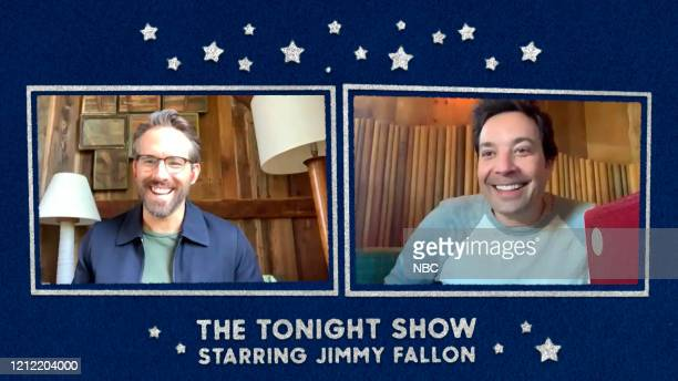 Episode 1256E -- Pictured in this screengrab: Actor Ryan Reynolds and host Jimmy Fallon on May 5, 2020 --