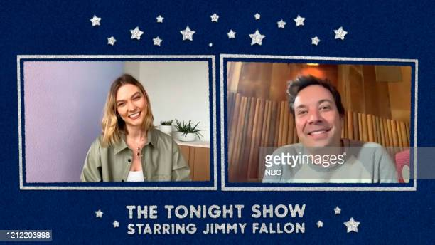 Episode 1256E -- Pictured in this screengrab: Model Karlie Kloss and host Jimmy Fallon on May 5, 2020 --