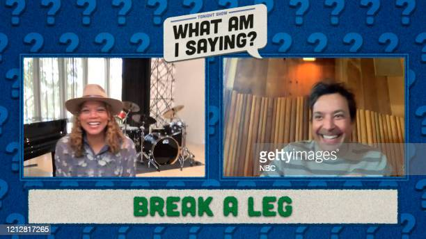 FALLON Episode 1258E Pictured in this screengrab Actress Queen Latifah and host Jimmy Fallon play Break A Leg on May 7 2020