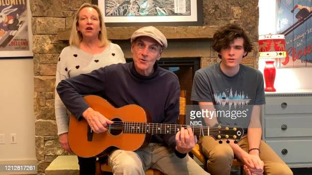 FALLON Episode 1258E Pictured in this screengrab Musical guest James Taylor performs with wife Catherine Kim Smedvig and son Henry on May 7 2020