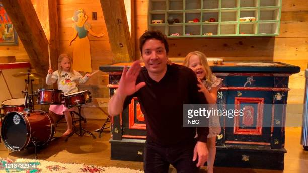 FALLON Episode 1259E Pictured in this screengrab Host Jimmy Fallon with his daughters Winnie and Franny on May 8 2020